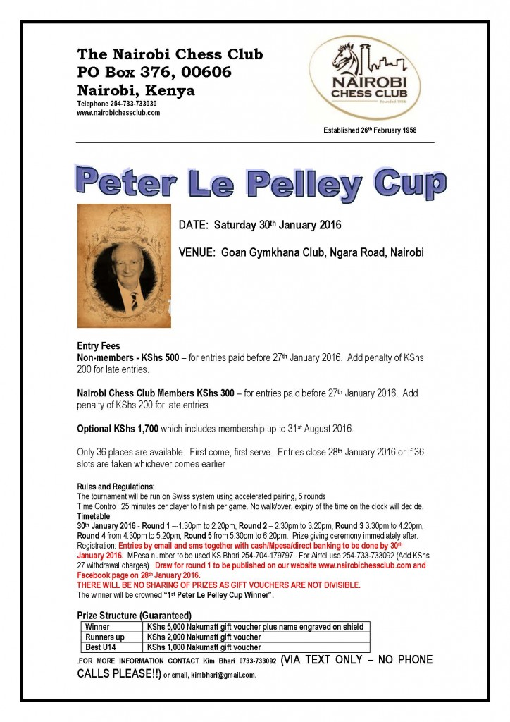 160119 Peter Le Pelley Cup Tournament Poster